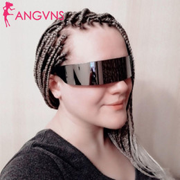 Envolver alrededor de marcos online-Divertido marco de gafas Futurista Envoltura alrededor de traje Anteojos Máscara Novedad Ojo Fiesta de cristal Suministros de fiesta Decoración