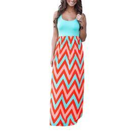 Mulheres Verão Praia Boho Maxi Vestido de Alta Qualidade Da Marca de Impressão Listrada Vestidos Longos Femininos Plus Size S-XXL Roupas Femininas de