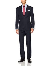 Темно-синие свадебные костюмы на заказ для мужчин с воротником с надписью Slim Fit 2 шт. (Куртка с брюками) Свадебные костюмы для смокинга от
