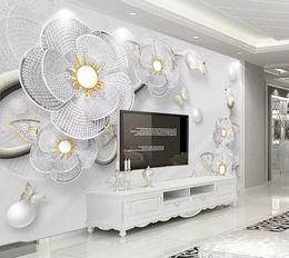 Foto di fiori astratti online-Foto personalizzata Wallpaper 3D Abstract 3D lusso diamante fiore Sfondo Murale Pittura murale Soggiorno Divano TV Sfondo