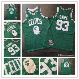 camisa de bape Desconto BostonCeltics 93 BAPEMITCHELL NESS VerdeNBA bordado camisa de basquete