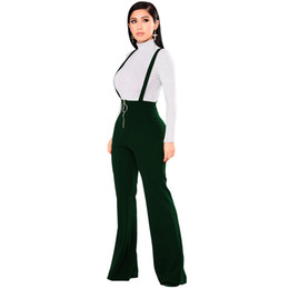b0082c5783d jumpsuits suspenders Canada - Women Dungarees Overalls Bell-bottomed High  Waist Suspender Trousers O-