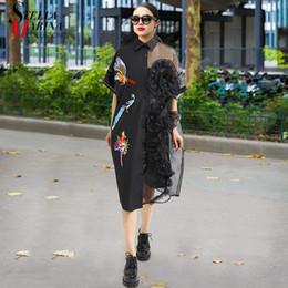 f99be35bc7e92c 2019 damen kleider hemden schwarz 2019 sommer frauen schwarz midi mesh hemd dress  plus größe rüschen