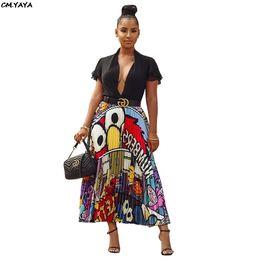 jupe plissée Promotion 2019 nouvelles femmes caractère vintage lettre impression taille haute taille mi-mollet jupes plissées vintage grande jupe de balançoire 4 couleur Ld8277-1 SH190824