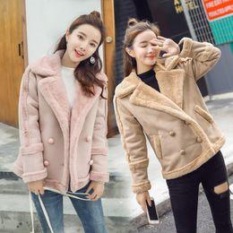 casaco de lã e lã Desconto 2019 Nova Moda Outono camurça de lã quente Brasão Mulheres curto Parka manga comprida de lã Double Breasted Casacos roupas de inverno V934