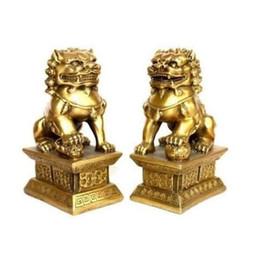 chinesisch foo hund statue paar Rabatt Ein Paar chinesische Tibet-Messingstatuefoo-Hunde Löwen