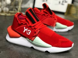 Zapatos y3 para hombre online-Venta al por mayor más nuevo GZFOG Y3 Kusari hombres diseñador zapatillas Y-3 rayas blanco rojo moda zapatos casuales con caja