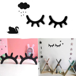Decoraciones de madera de estilo online-Pestañas 3D Estilo nórdico de madera de pared Stikers Eye Lash Wall Stick Fondo autoadhesivo Decoración para el hogar Niños Niños Habitación para bebés Envío gratis