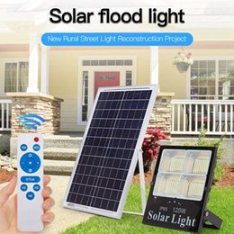 Reflectores para luces led online-Reflector al aire libre Led de luz de inundación Regulable Impermeable Led Reflector 120 W 200 W Led Reflector de panel solar con control remoto