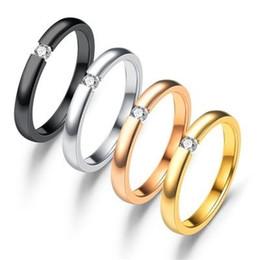 Edelstahl schwarzer kristallring online-Edelstahl Kristall Ring Diamant Zirkon Ring Schwarz Rose Gold Ringe Frauen Hochzeit Modeschmuck Will und Sandy Drop Shp 080391