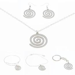 Joyería de hélice online-Helix Symbol necklace Silver tone Spiral Coil Symbol Jewelry llavero brazalete pendiente