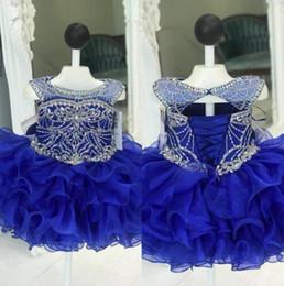 primeira tampa Desconto Luxo Royal Azul Babados Criança Infantil Meninas Pageant Vestidos Cap Mangas Curtas De Cristal Frisado Curto Flor Meninas Primeira Comunhão Vestido