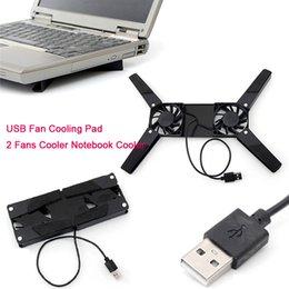 laptop usb usb Rebajas Almohadillas de enfriamiento del portátil USB rotativo Mini 2 ventiladores Enfriador del portátil Ventilador del soporte de computadora para 10-17 pulgadas Tablet PC Juego Laptop