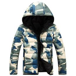 Cappuccio mens down jacket online-2019 New Camouflage Inverno Piumino Cappotti Uomo Doudoune Homme Hiver Marque Con Cappuccio Uomo Giacche Spessa Moda Cappotto