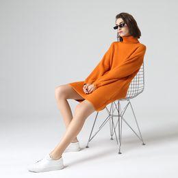 Vestidos de inverno laranja on-line-atacado Turtleneck cor laranja vestidos suéter para Mulheres Winter Casual Sólidos manga comprida malha mini vestido