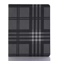 2019 capas de ipad da prova da criança Dobrável fólio case para ipad air series tendência linha casual xadrez couro estojo protetor com cartão de bolso para ipad pro 2018 para ipad mini case