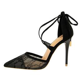 Nouveauté 2019 Mesh Mesdames talons hauts robe chaussures bout pointu taille 34-40 Escarpins Slingback Black Medium Stiletto ? partir de fabricateur