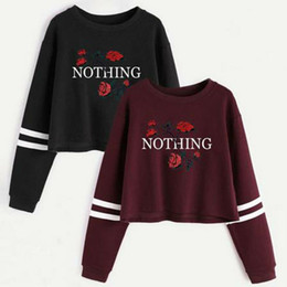 Sweatshirts sexy mädchen online-Autumn Fashion Vintage Short Sweatshirt Rose Damen Brief Rose Sweatshirt Langarm Sweatshirts Sexy Frauen Mädchen Clubwear