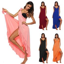 kleider ohne rücken sexy Rabatt Sexy Strandhemd Wickelkleid Badeanzug Nackt Zurück Ohne Langen Rock Sommer Frau Sarong Beach Pareo De Playa A1