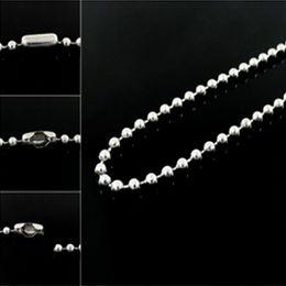 Cadeia de cordão de 2mm on-line-2mm de Aço Inoxidável Bola de Prata Beads Cadeia Homens Colar Pulseira Chaveiro Trinket Dog Tag Jóias Fazendo Acessórios
