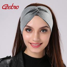 Серебряный тюрбан онлайн-Geebro Silver Dot Широкие ободки для женщин Летней моды Креста Knotted повязок трикотажной повязки для девочек Wrap лука Hairband