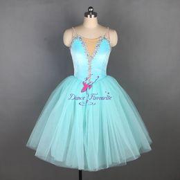 2019 seide lange abendröcke Aqua blau Spandex Leibchen Mieder Ballett Kleid lange romantische Ballett Tutu Tanz Kostüm Ballerina Kleider für Mädchen und Frauen 19831-5