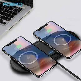 FDGAO Çift 10 W QI Kablosuz Şarj iphone XS Max XR X 8 Samsung S9 S10 USB Hızlı Kablosuz Şarj Pad Dock İstasyonu Masaüstü nereden cep telefonu şekerlemeleri tedarikçiler