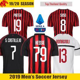 ec4115854 19 20 AC Milan Soccer Jersey ROMAGNOLI 2019 2020 AC Milan PIATEK Jersey  SUSO Football Shirt S.CASTILLEJO KESSIE Soccer Shirt inexpensive miami  dolphins ...