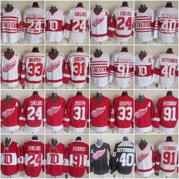 Sergei fedorov jersey online-Detroit Red Wings 24 Chris Chelios 31 Curtis Joseph 33 Kris Draper 40 Henrik Zetterberg 91 Sergei Fedorov Vintage Hockey Jersey