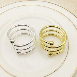 mesas de comida Desconto Primavera dupla talão anel de guardanapo anel de guardanapo de comida Ocidental ouro cor prata hotel home mesa trinkets