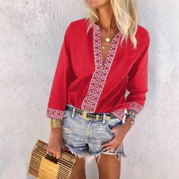 2019 vestido vermelho com lantejoulas Plus Size Camisa Do Vintage Mulher Camiseta Top Patchwork Estética Chiffon Camisa V Pescoço Oversized 4xl 5xl Camiseta Femme C19041001