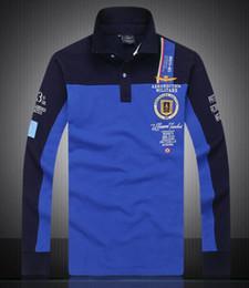 Longs bestickte polo online-Herren Langarm T-Shirt Frühling und Herbst Neue Revers Net Augen Baumwolle Langarm Bestickte Mode Herren Polo-Shirt