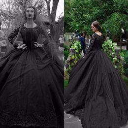 Vintage black applique kleider online-Gothic 2019 New Black Long Sleeves Brautkleider Vintage Tüll Spitze Applique Lange Brautkleider Nach Maß Plus Size Brautkleid