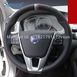 Argentina Para Volvo s60l alta calidad cosido a mano antideslizante de cuero negro de gamuza negro rojo hilo azul diy cubierta del volante supplier volvo blue Suministro
