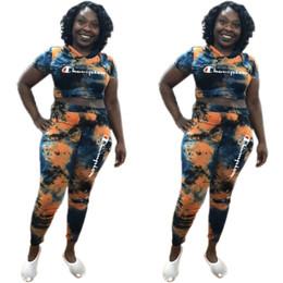 Calças de tintura de gravata feminina on-line-Mulheres dos campeões duas peças outfits Bordado Carta Treino Designer de Moletons Calças CHAMP Marca Sweatsuit Tie-dye Sportswear C3263