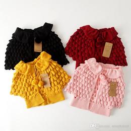il commercio all'ingrosso del cardigan dell'increspatura delle ragazze Sconti Everweekend Cute Girls maglia Cardigan Maglioni Caped design increspature Autunno Giacche invernali Outwears colore della caramella all'ingrosso