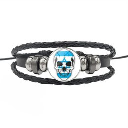 israel flags Coupons - Israel National Flag Time Gem Glass Cabochon Skull Series Button Bracelet Braided Wristband Multilayer Leather Rope Beaded Jewelry Men Women