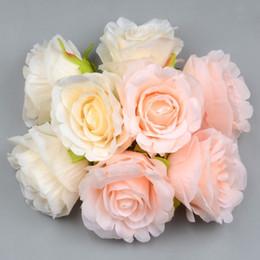 Corona de flores blancas online-Gran Seda Floreciente Rosa Rosas Blancas Cabeza de flor artificial para la decoración de la boda Diy Guirnalda Regalo Scrapbooking Flor Craft grande