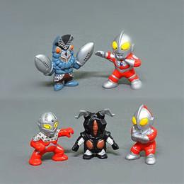 Pvc de boneca superman on-line-5pcs / lot Animação Pequeno Q Ultraman Superman PVC boneca decoração do bolo decoração boneca brinquedos
