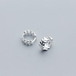 2019 piccole piante MloveAcc Real 925 orecchini in argento sterling per le donne Orecchini a forma di foglia piccolo cerchio orecchino gioielli moda sconti piccole piante