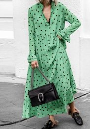dimensioni dell'oscillazione Sconti Abbigliamento da donna di lusso onda punto profondo scollo a V grande swing vestito di cotone materiale più dimensioni gonna lunga