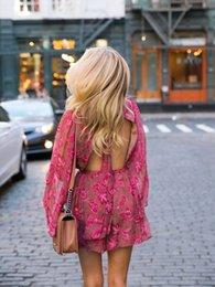 2019 vestiti floreali delle donne Tute da ginnastica Zimm Brand New 2019 Summer Pompers da donna stile casual moda stampa floreale Bohemian Beach Tute vestiti floreali delle donne economici