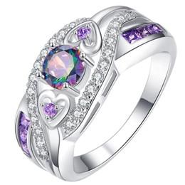 21aed569f490 Nueva Llegada Oval Diseño de Corte de Corazón Multicolor Púrpura Blanco CZ  Anillo de Color Plata Tamaño 6 7 8 9 10 Moda Mujer Regalo de la joyería