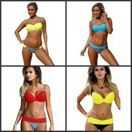 Bikini rosso blu online-Summer Split Bikini For Lady Seaside Holiday Ispessimento Costume da bagno Sexy Soft Stripe Giallo Rosso Blu Swimwear Vendita calda 22ysD1