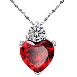Красное сердце драгоценное ожерелье онлайн-Мода Сердце кулон ожерелье серебряные подвески ювелирные изделия красный гранат ожерелье искренняя любовь красный драгоценный камень ожерелье