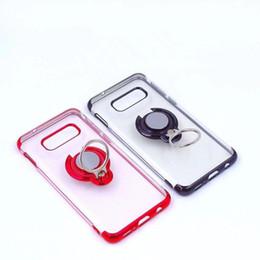 Cajas del teléfono celular de silicona clara online-Estuches transparentes de TPU para el teléfono celular con soporte de anillo magnético para Iphone XS Max Samsung Galaxy S10 Plus Huawei P30 Pro galvanoplastia Slim Funda de silicona