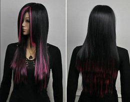 peluca lolita resistente al calor Rebajas WIG Envío Gratis Mujeres de Pelo Largo Recto Negro Rosa Lolita Mixta Resistente al Calor Cosplay Pelucas Completas