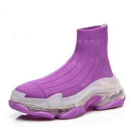 Größentabelle für frauen online-Großhandel hochwertige Männer und Frauen Designer Schuhe Größentabelle gelb lila schwarz blau rosa Strick-Serie Freizeitschuhe dicken Boden Klassiker