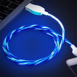 2019 cargador de cable de datos Luz LED de flujo visible de 1 m Cable de cargador micro USB Cable de transferencia de sincronización de datos Cable luminoso Línea de carga plana cargador de cable de datos baratos