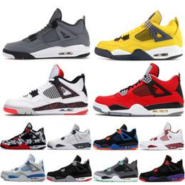 Promozioni rosse online-Promozione Bred 4 4s da basket scarpe uomini mens Singles Cool Grey Thunder Nero Silt Red Splatter Tattoo Day Sneakers Designer